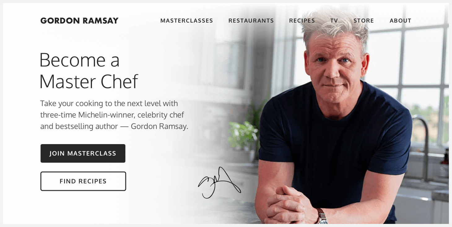 Redesigned header of Gordon Ramsay's website.