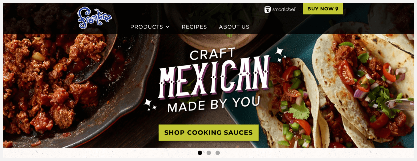 Section 1 of Frontera's website.