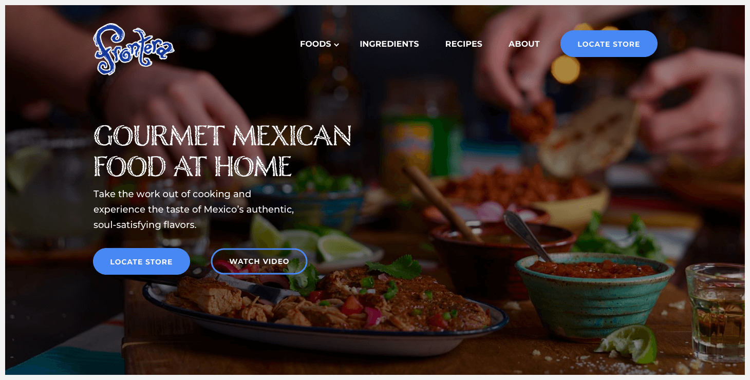 Section 1 of Frontera's website redesign concept.