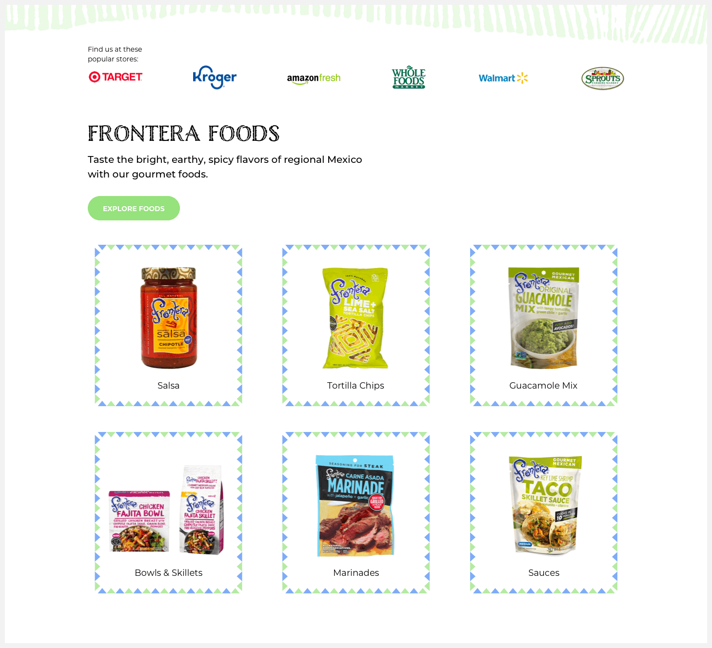 Section 2 of Frontera's website redesign concept.