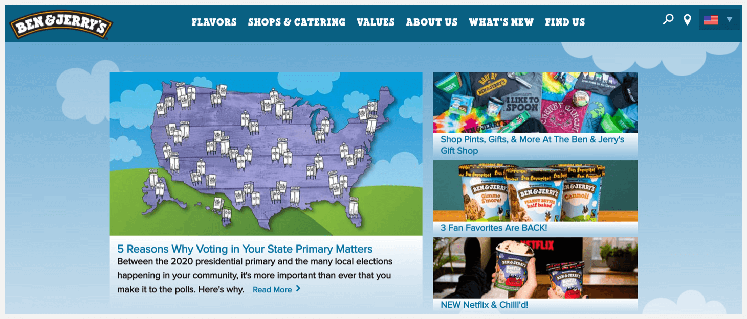 Section 1 of Ben & Jerry's website.