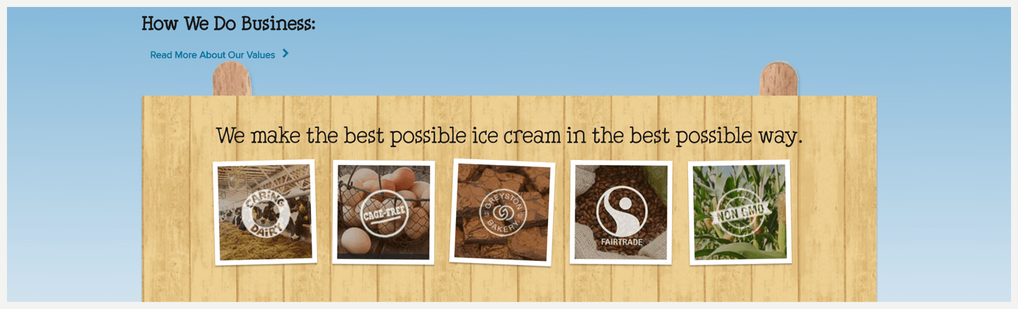 Section 4 of Ben & Jerry's website.