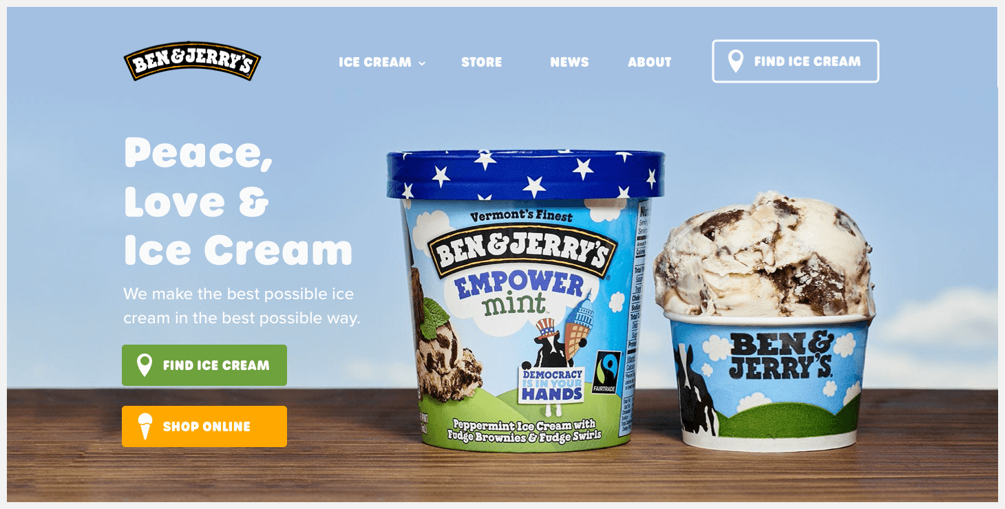 Section 1 of Ben & Jerry's website redesign concept.