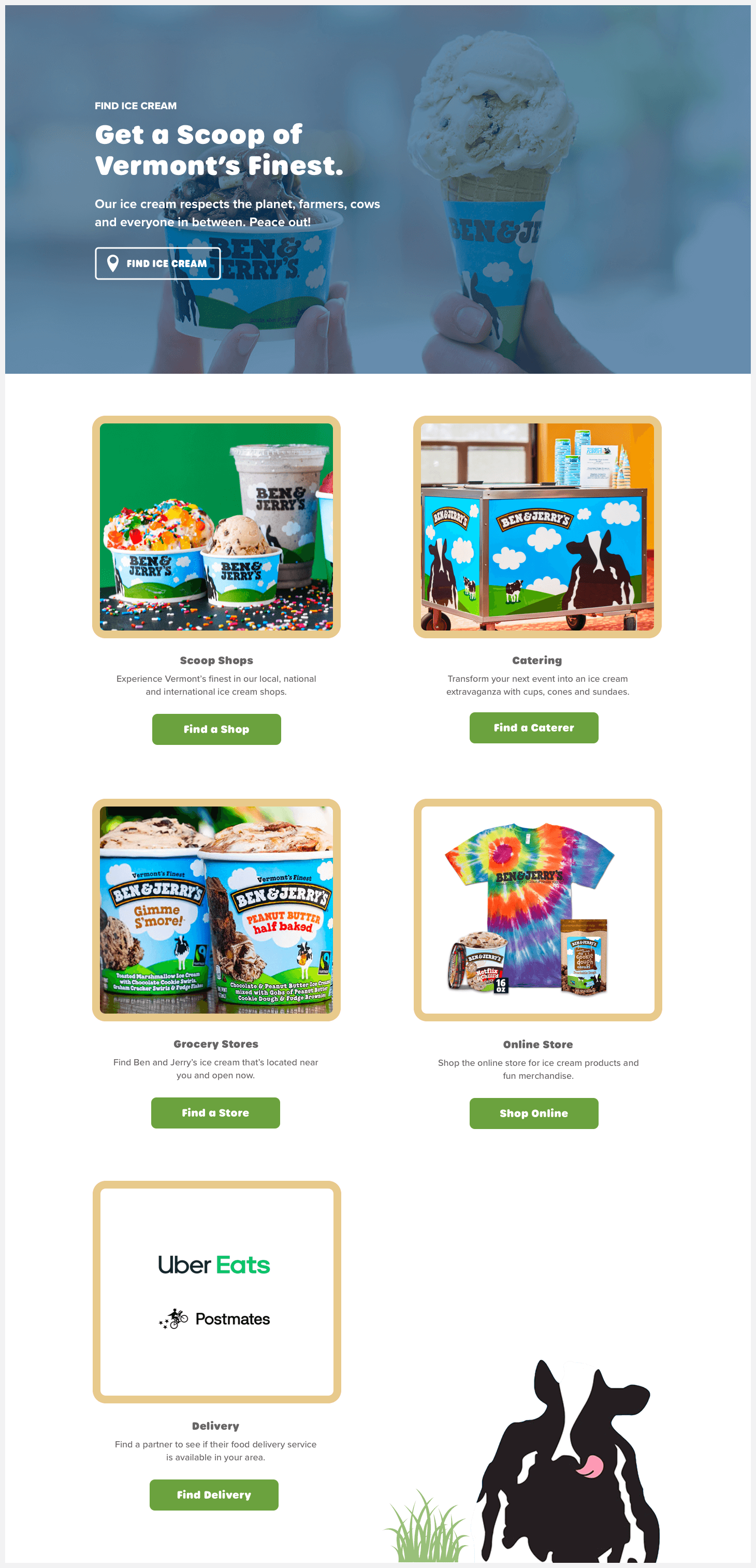Section 3 of Ben & Jerry's website redesign concept.