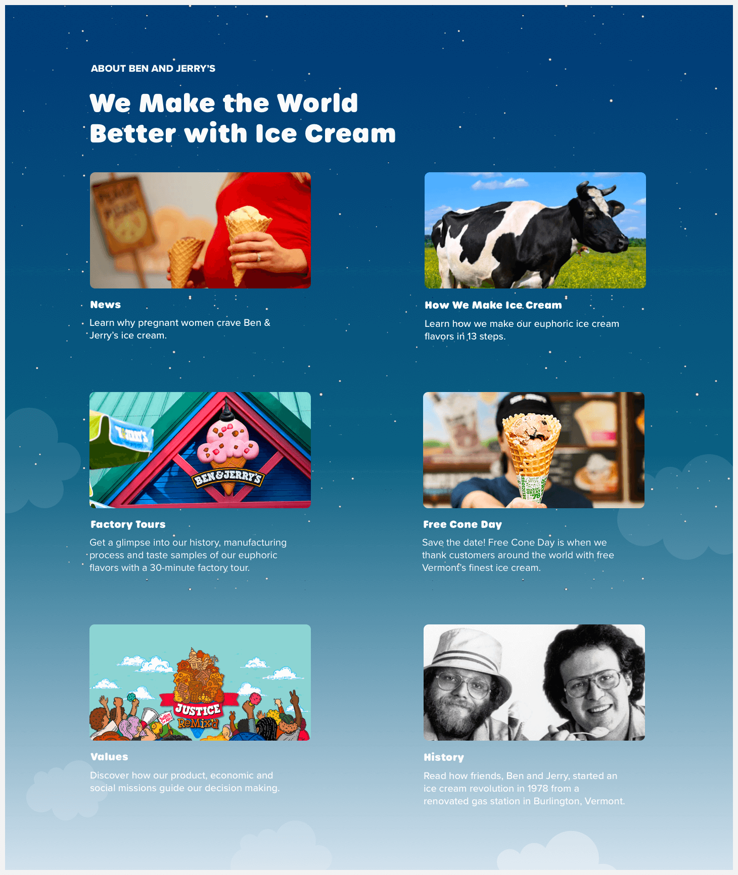 Section 4 of Ben & Jerry's website redesign concept.