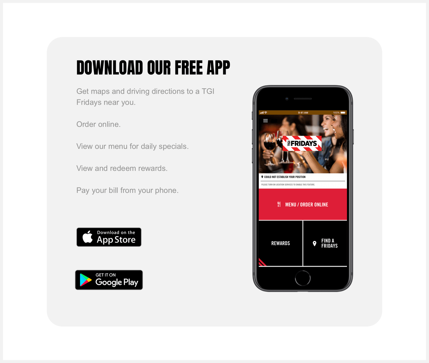 Section 7 redesign concept of TGI Fridays' website.