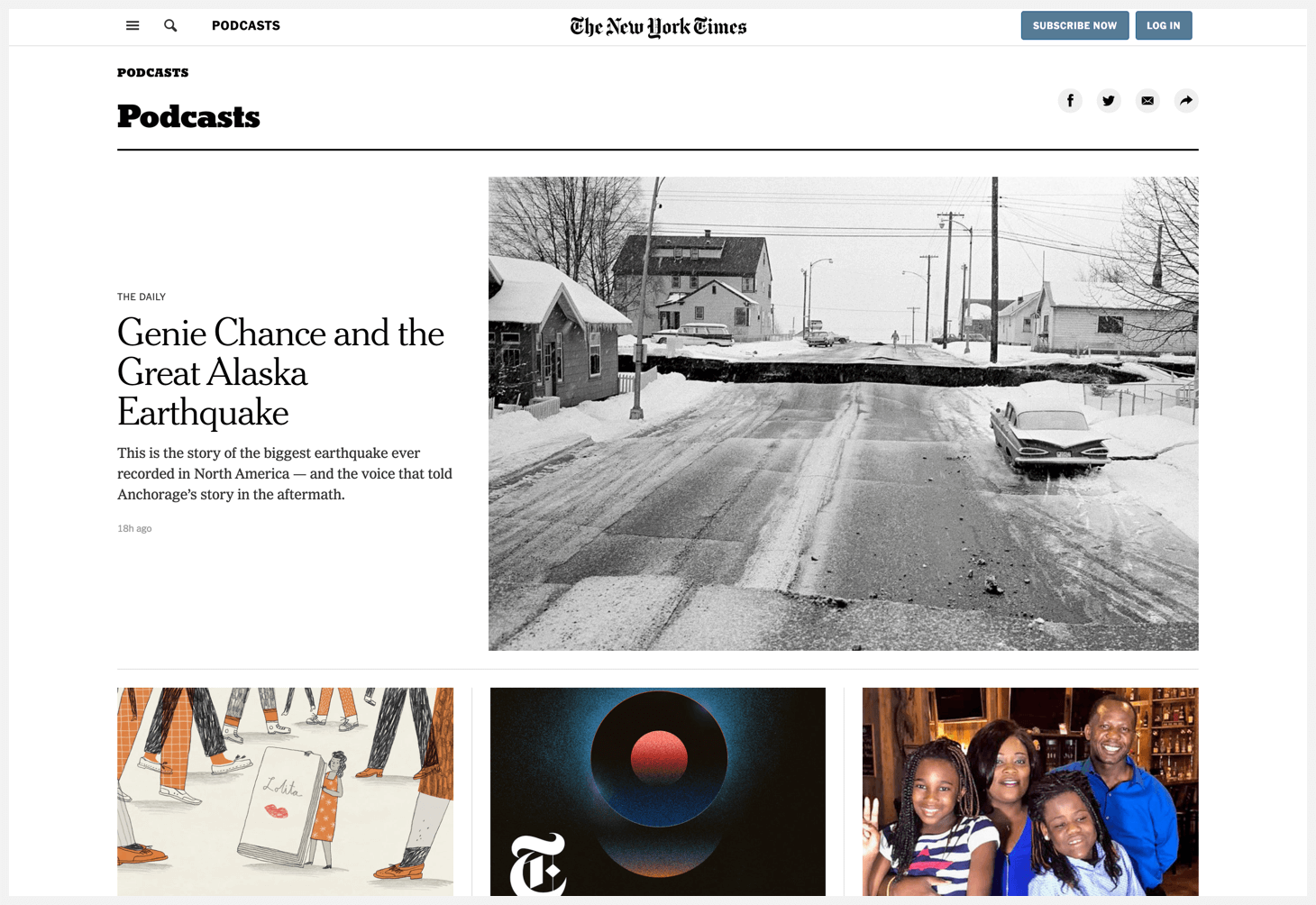 Header of The New York Times's podcast directory.