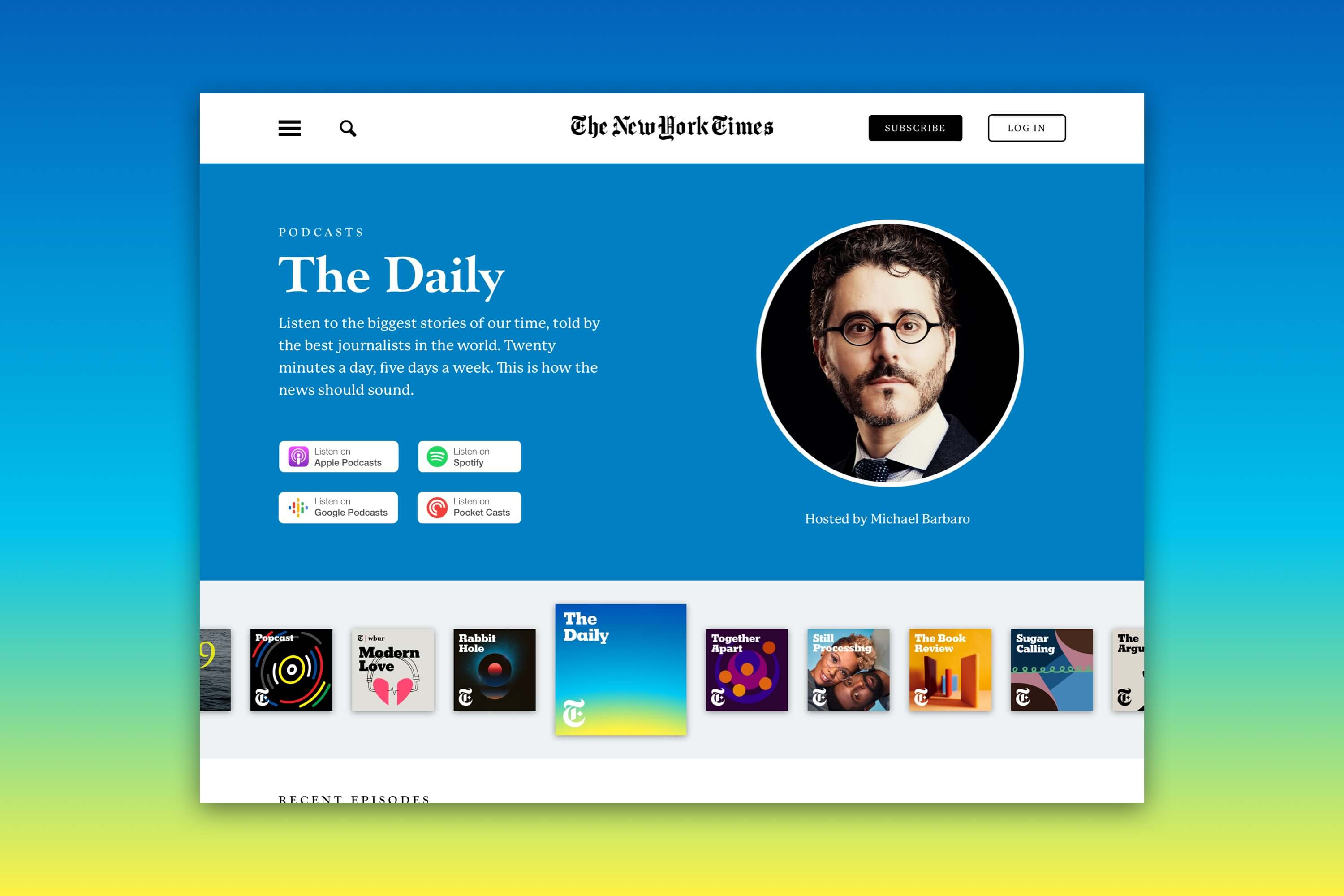 Redesigned header of The New York Times's podcast directory, featuring The Daily podcast.