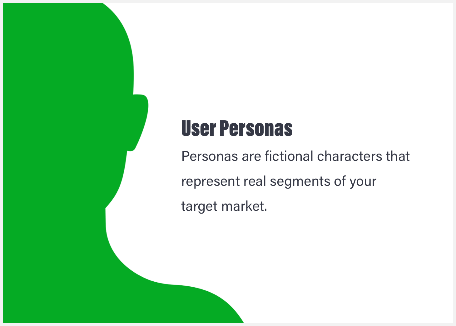 A silhouette with the definition of a user persona.