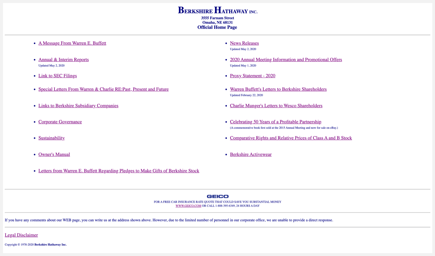 Header of Berkshire Hathaway's website.