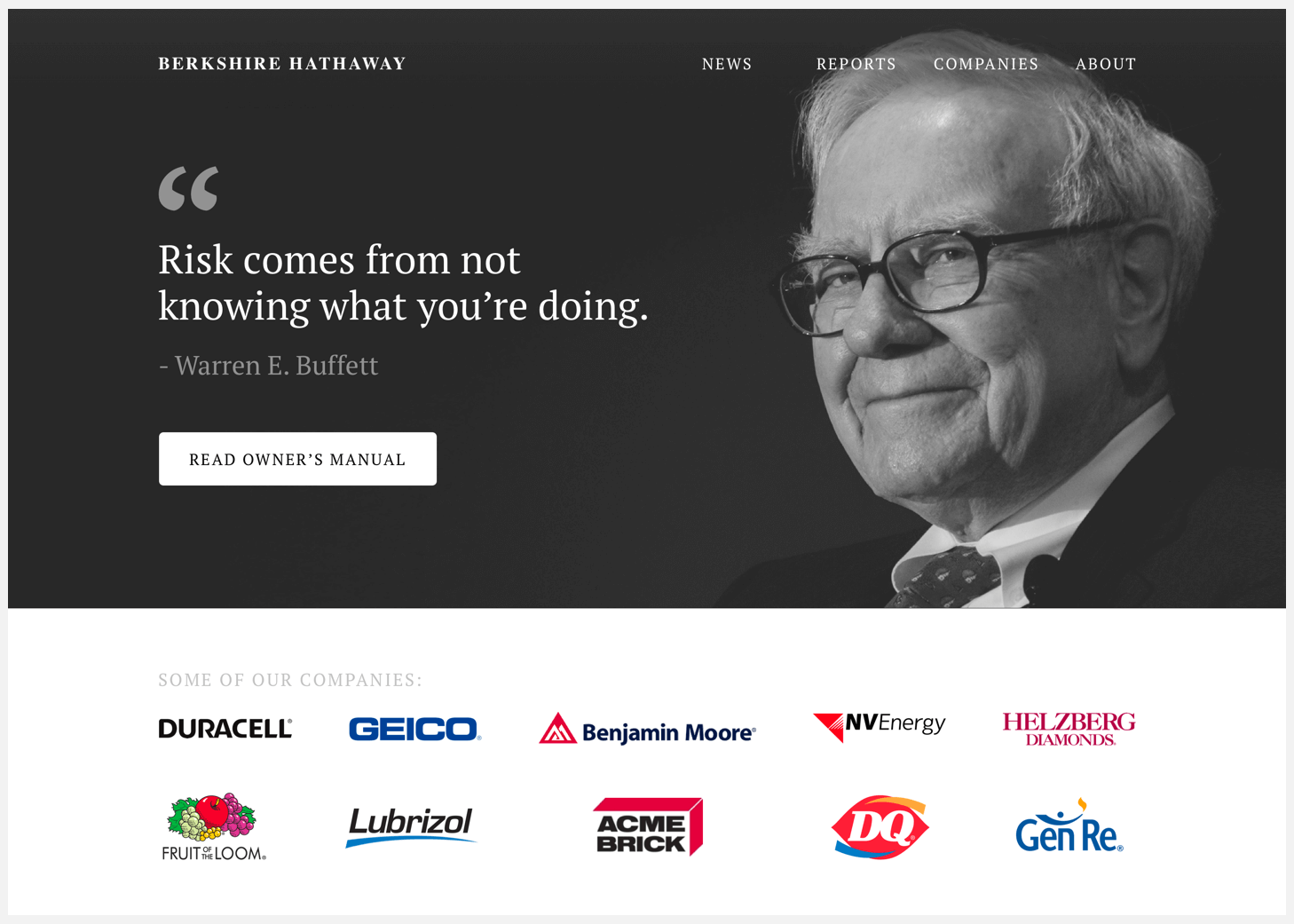 Redesigned Header of Berkshire Hathaway's website.