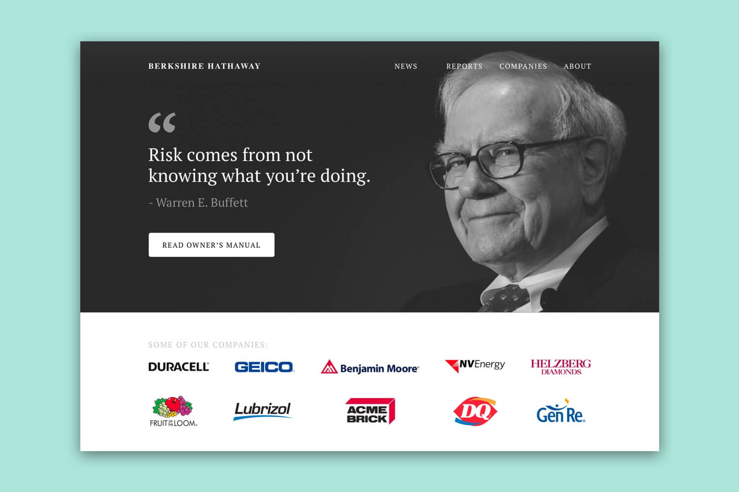 Redesigned header of Berkshire Hathaway's website that shows Warren Buffet.