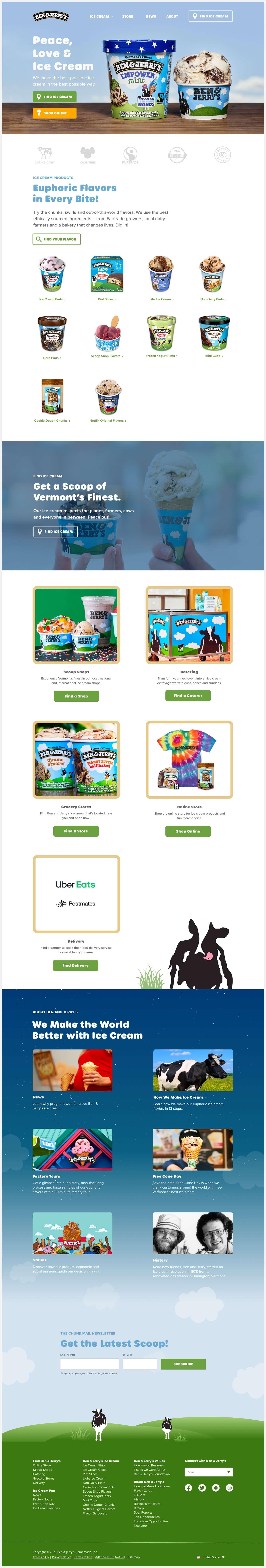 ben & Jerry's redesigned website.