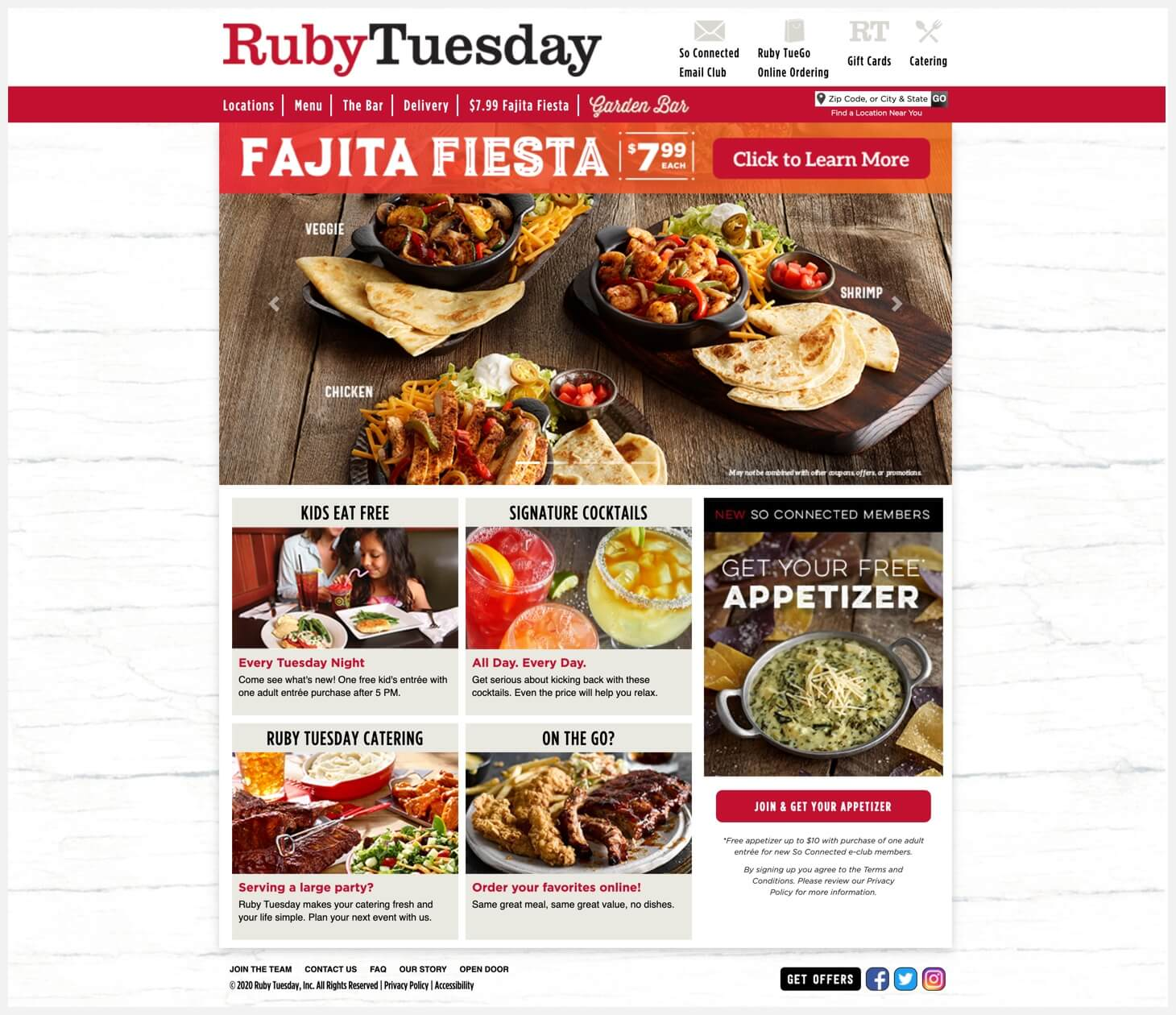 Ruby Tuesday's website.