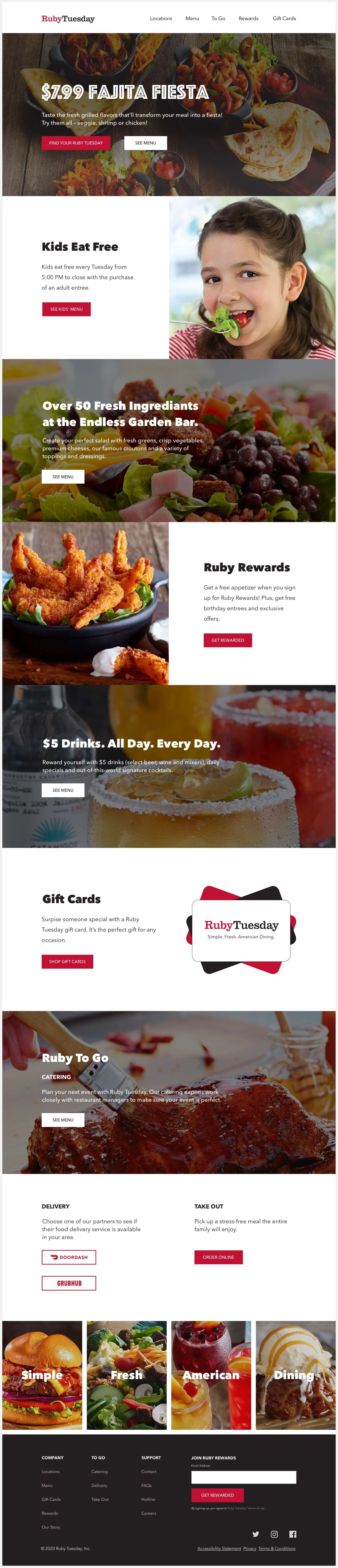 Ruby Tuesday's redesigned website.