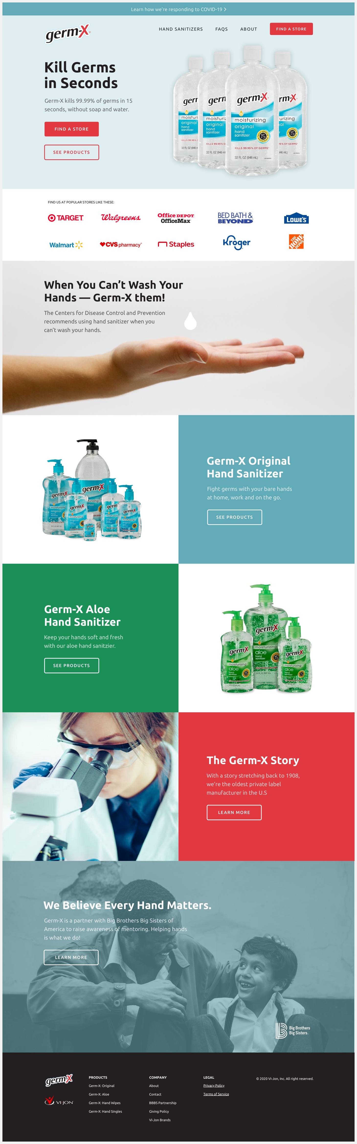 The redesigned Germ-X website.