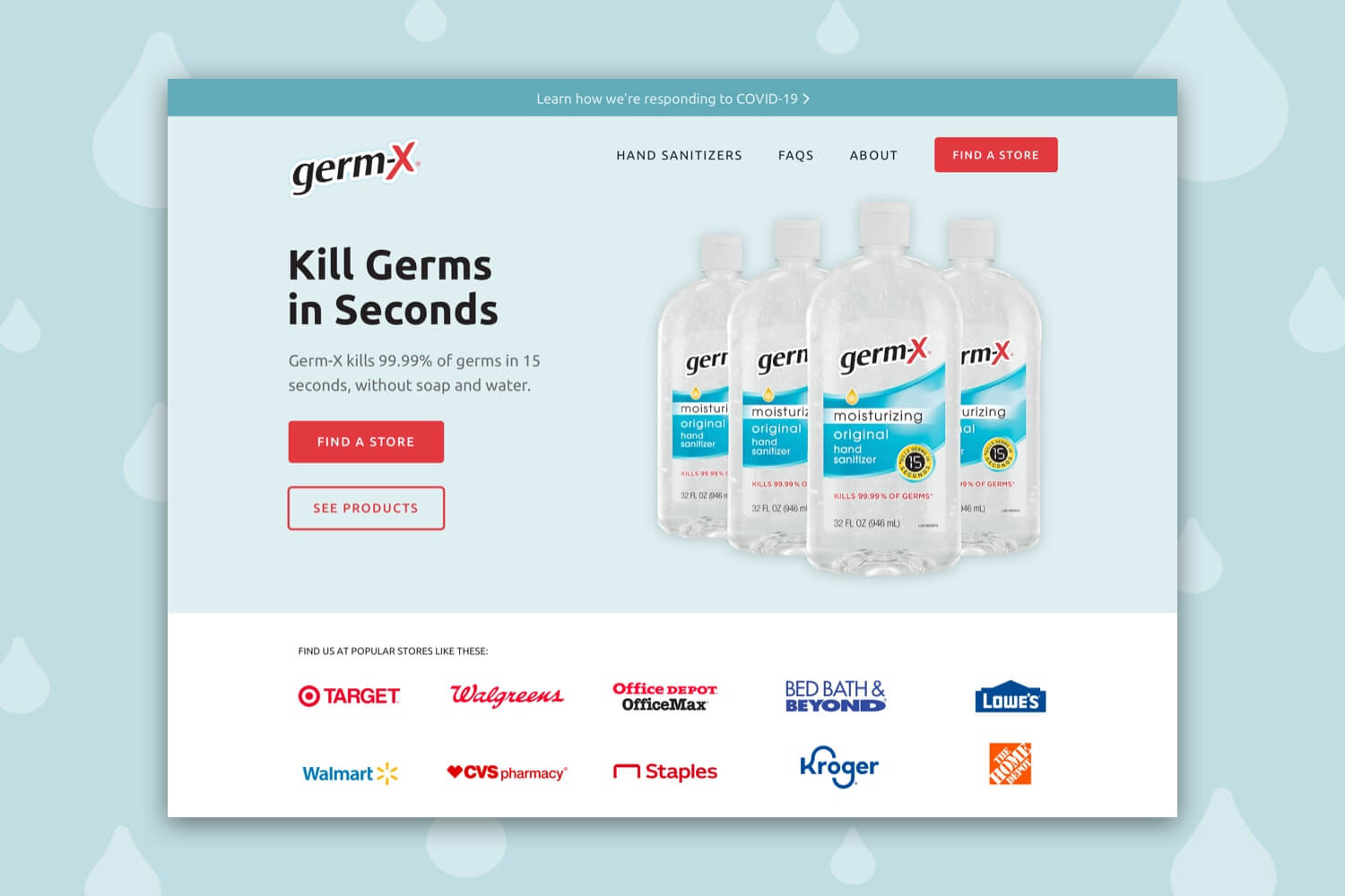 Redesigned header of the Germ-X website that shows bottles of hand sanitizer and logos of stores to buy them.