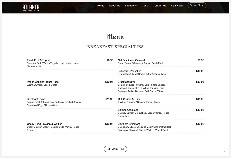 Atlanta Breakfast Club's menu.
