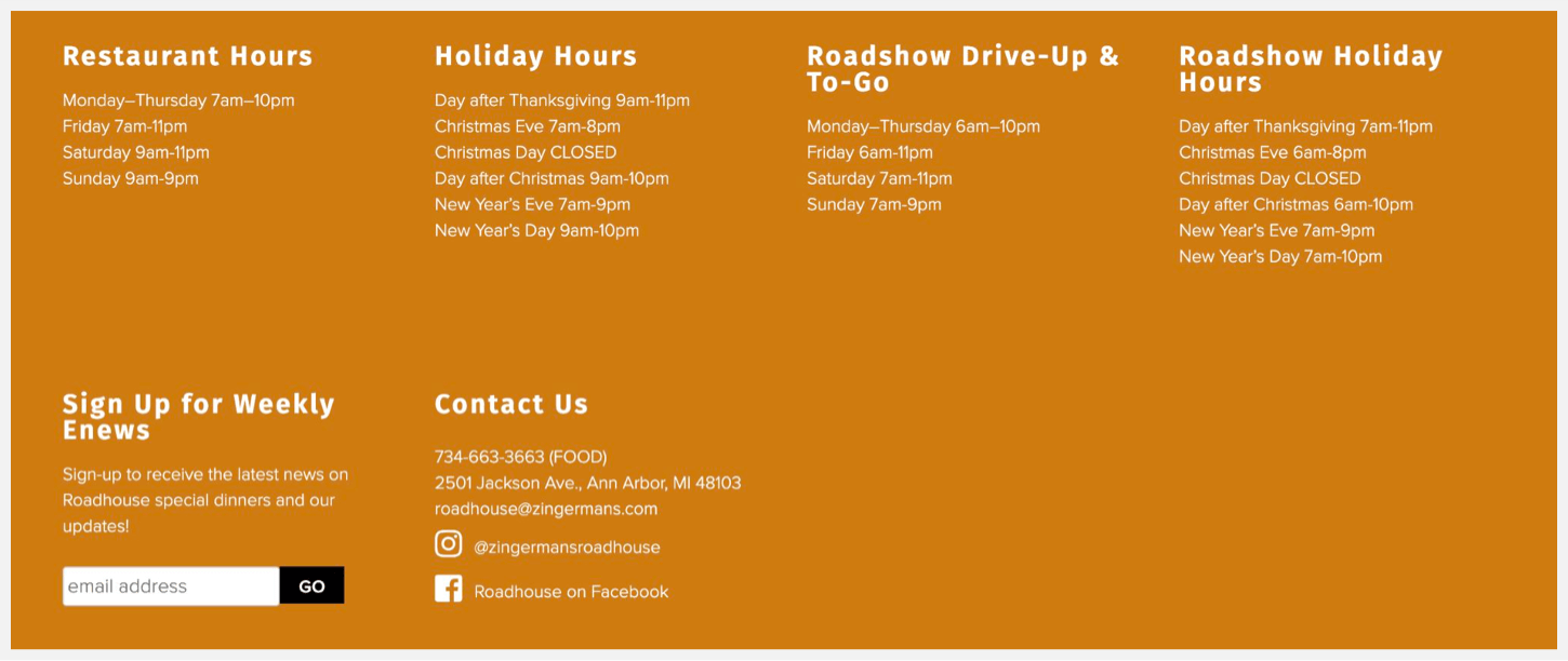 Zingerman's Roadhouse's hours of operation.