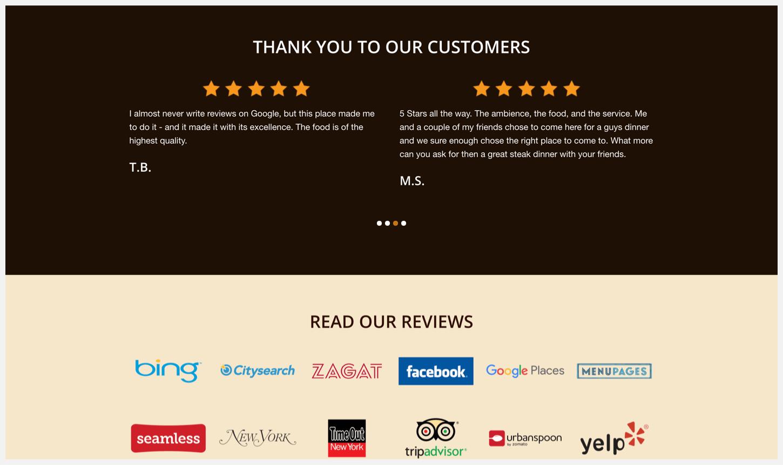 Sparks Steakhouse's website, showing social proof.