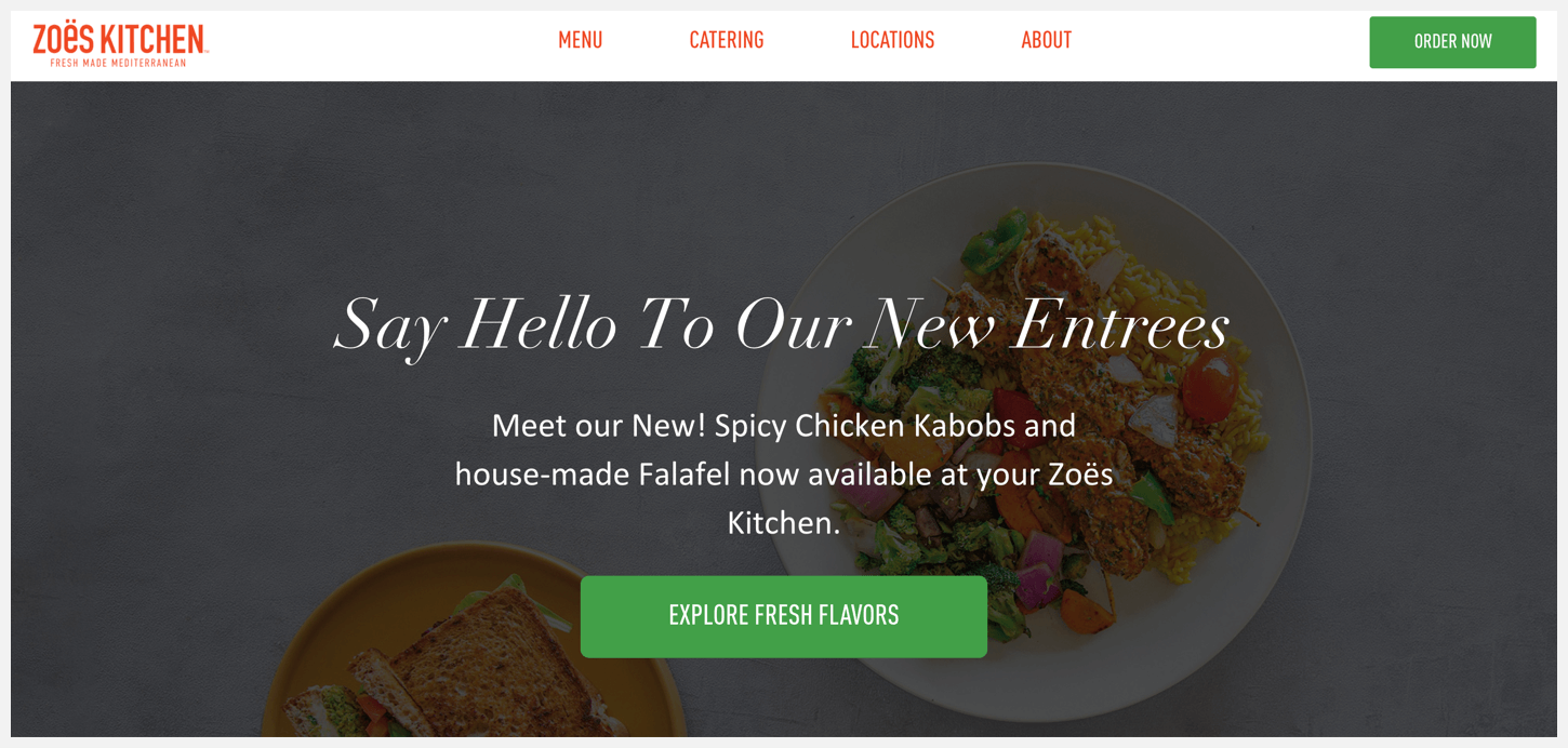 Zoës Kitchen's website, showing their call to action buttons.