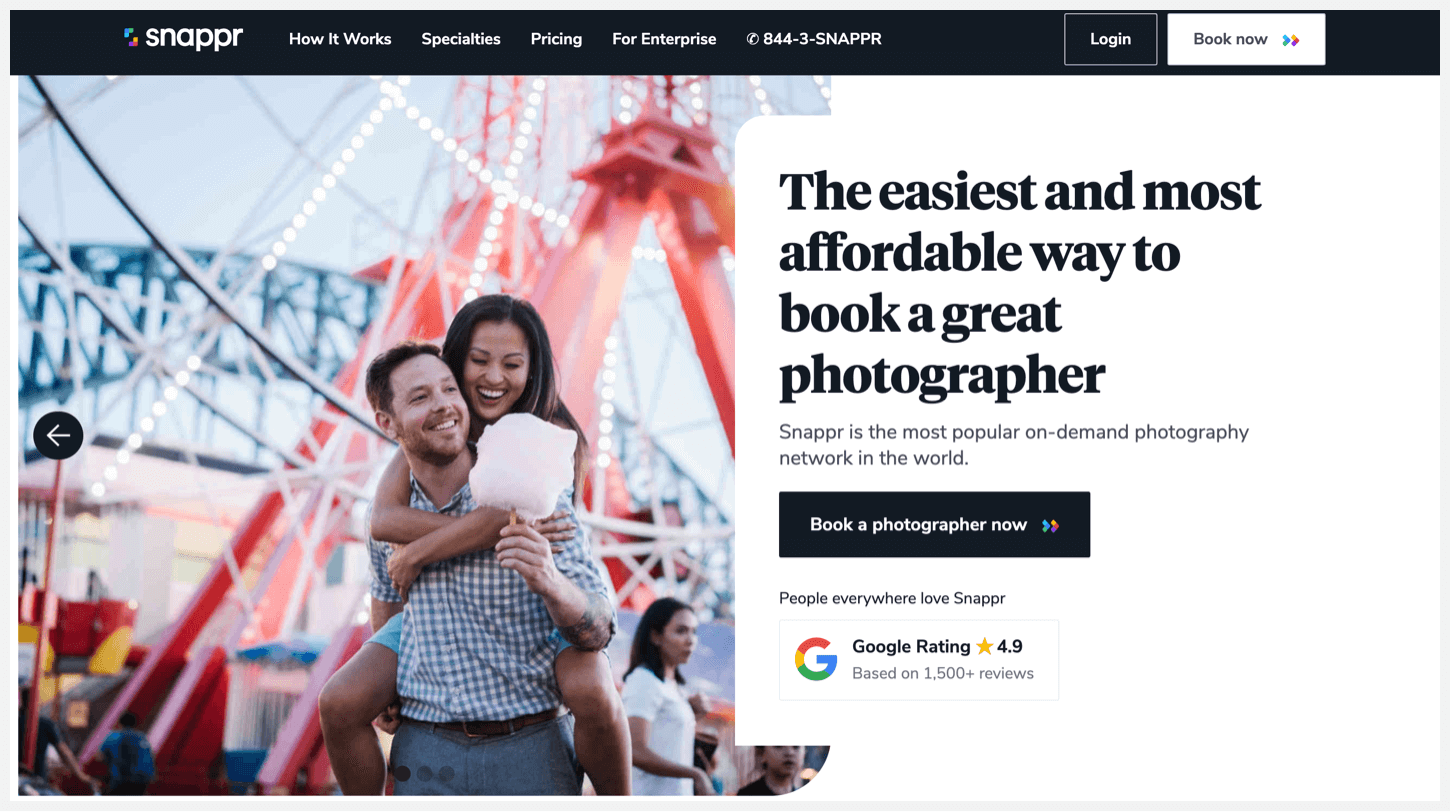 Snappr's homepage with instructions for hiring a professional photographer.