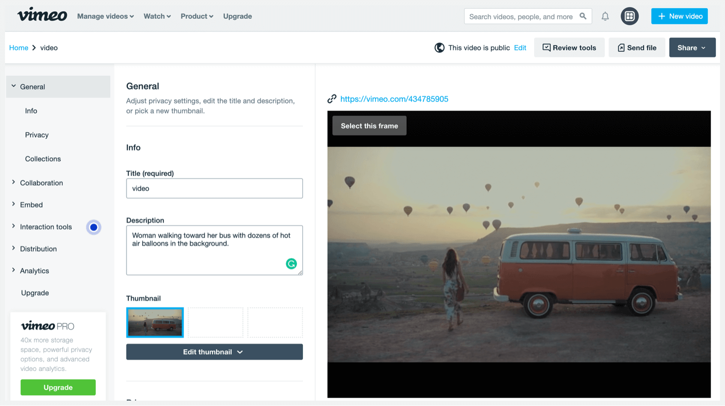 Vimeo's privacy settings page.