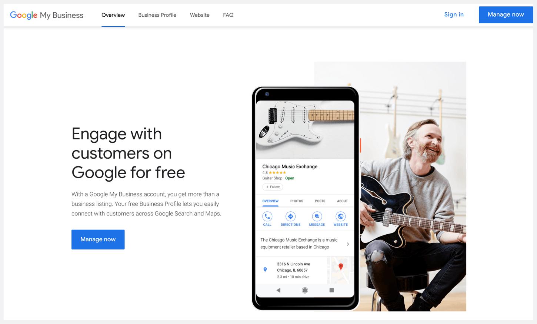 Google My Business' homepage.