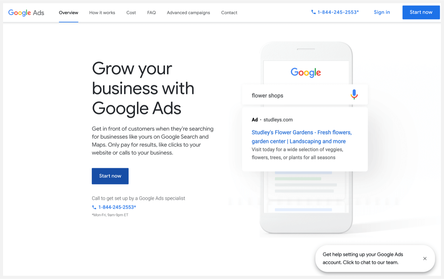 Google Ads homepage with a smartphone an an example ad.