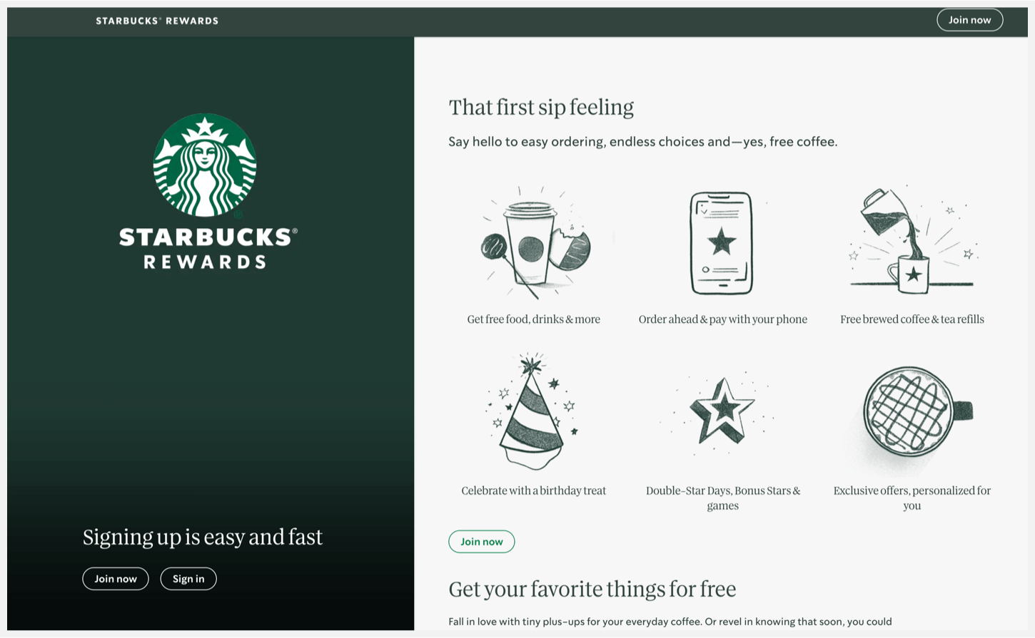 """Various illustrations that list the benefits of Starbucks Rewards and a """"Join Now"""" CTA."""