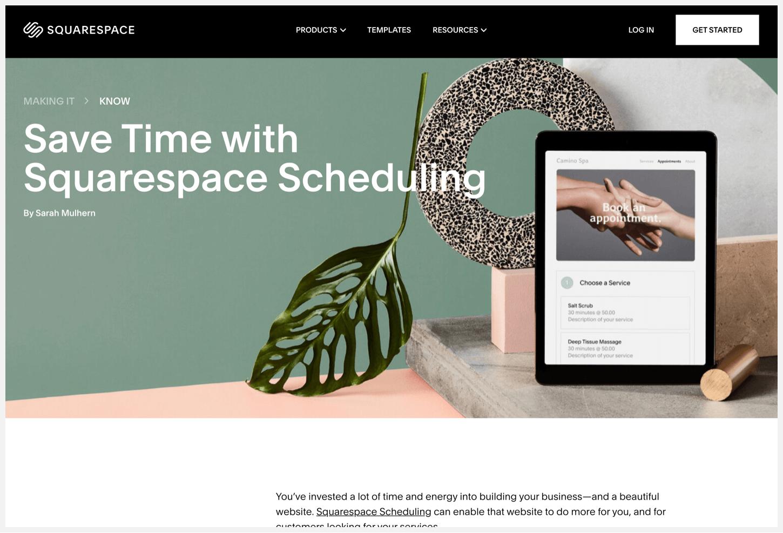 Squarespace's Making It Blog webpage.