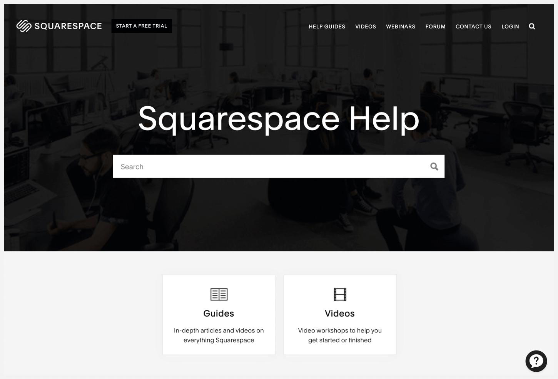 Squarespace Help webpage.