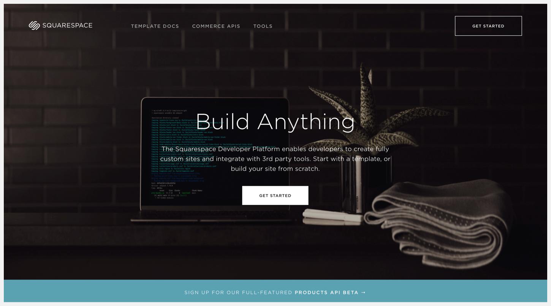 Squarespace's Developer Platform webpage.
