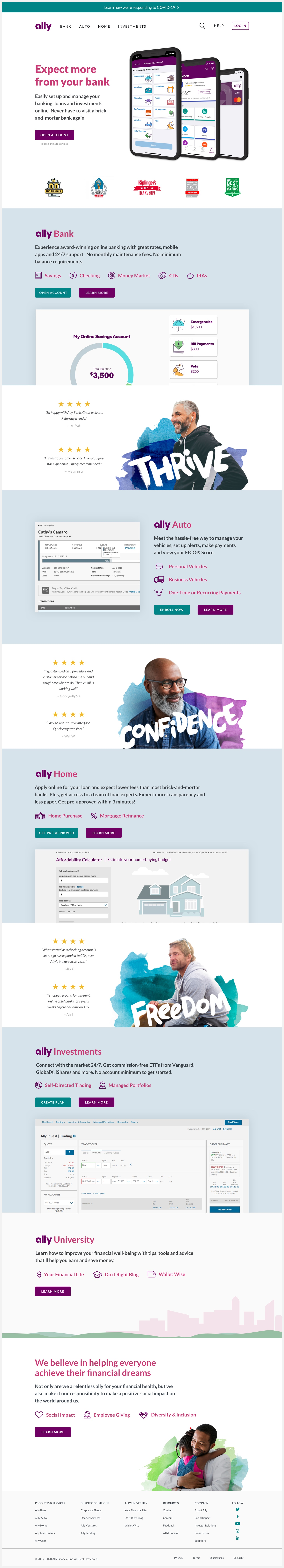 Ally Financial's redesigned website.