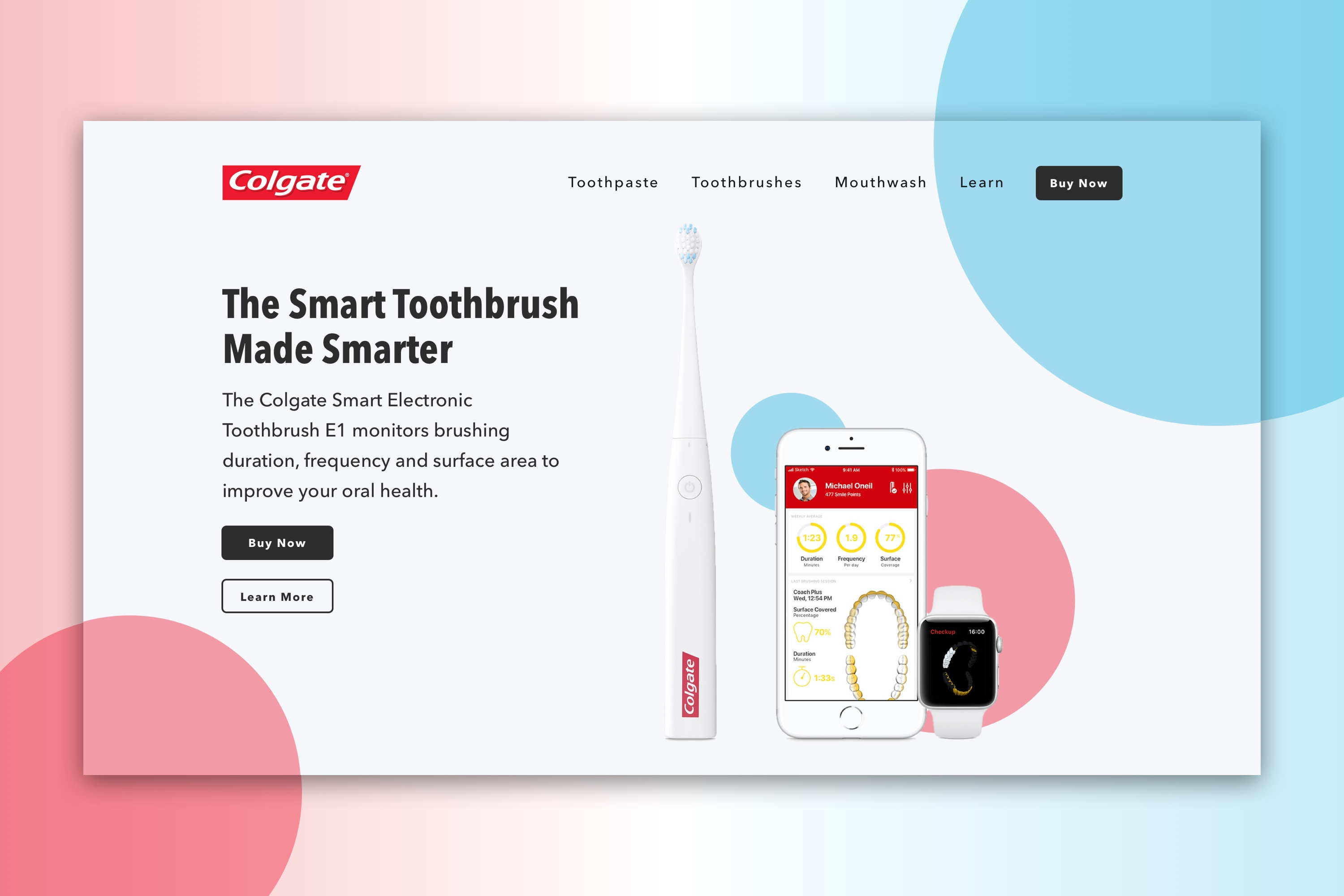 Redesigned website for Colgate that their Smart Electronic Toothbrush E1.