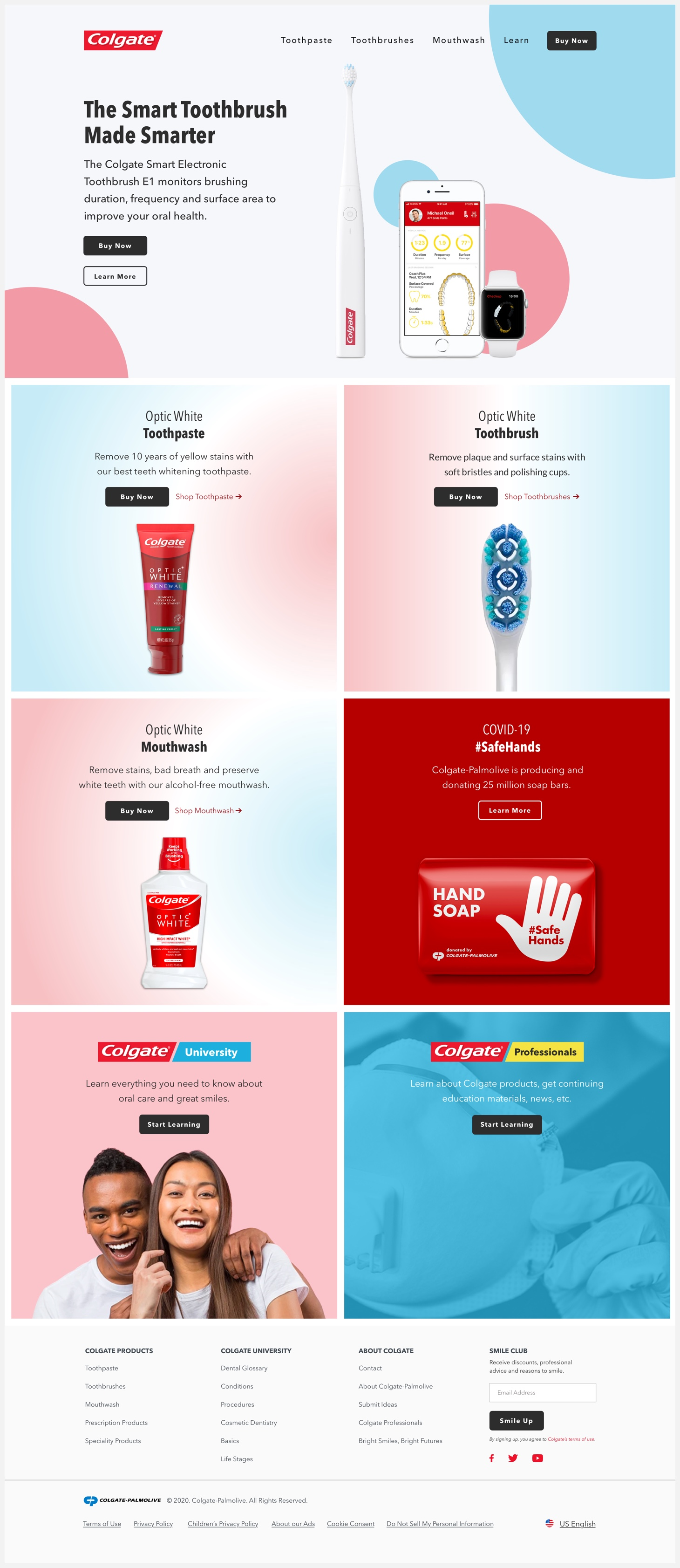 Colgate's redesigned website.