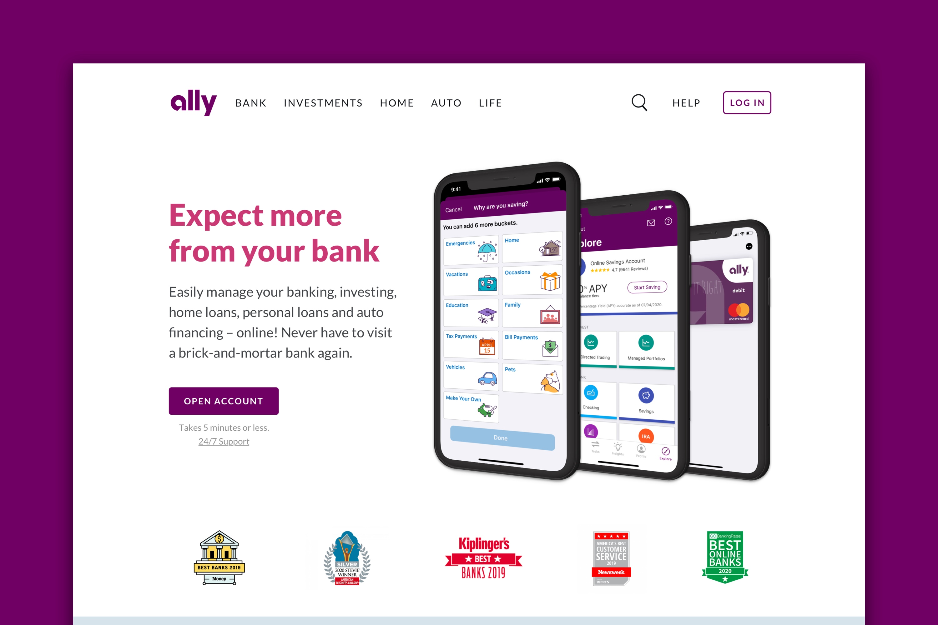Redesigned website header for Ally Financial that shows three screens of the mobile app.
