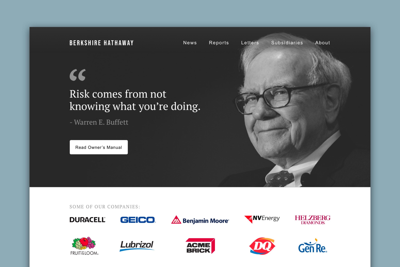 Redesigned header of Berkshire Hathaway's website that shows Warren Buffet.
