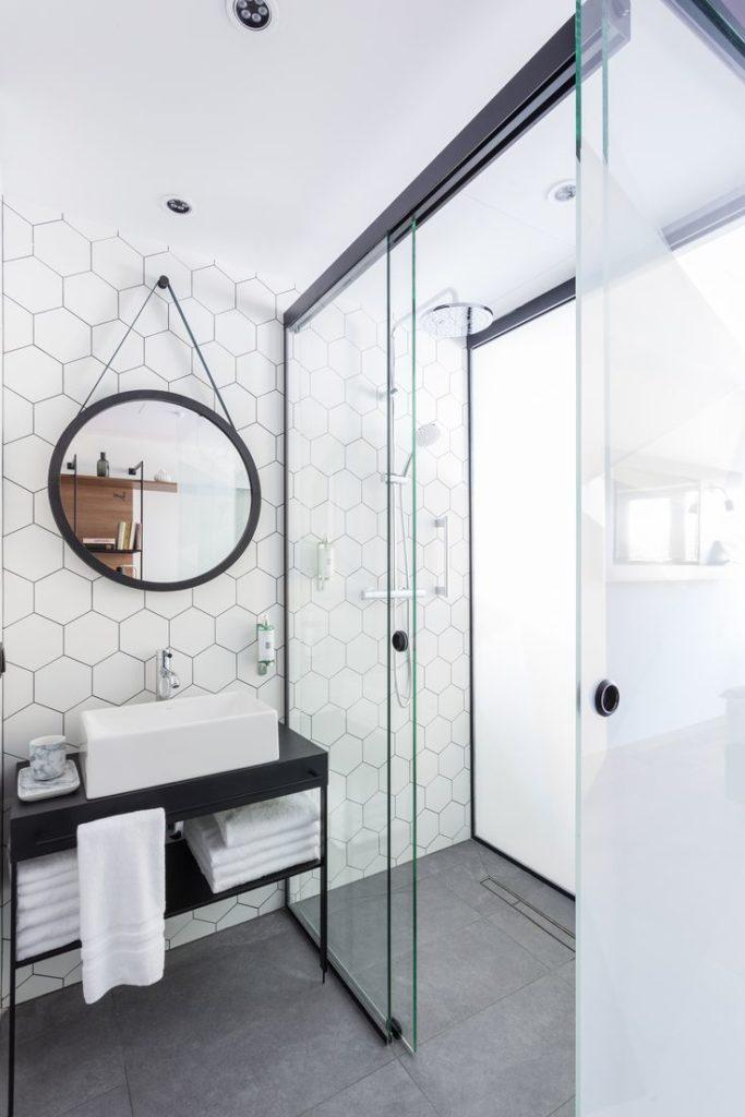 picture of bathroom with pocket door
