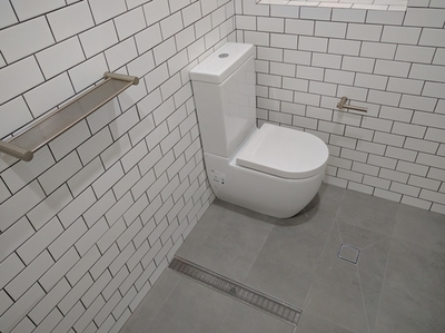 picture of bathroom with subway wall tiles