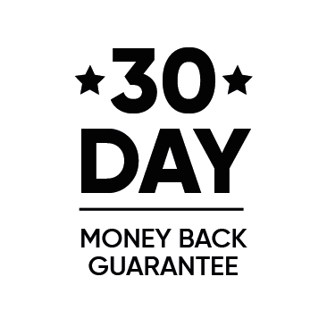 White circle with 30 day money back guarantee and black stars inside