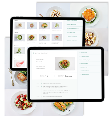 Tablet device on white background showing meal plans and recipes