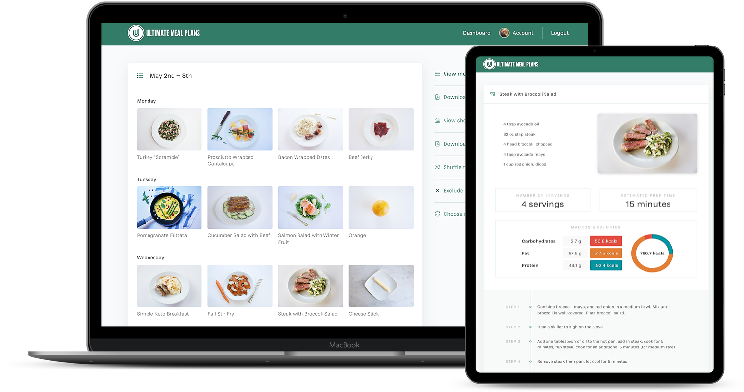Ultimate Meal Plans app on ipad and mobile screen
