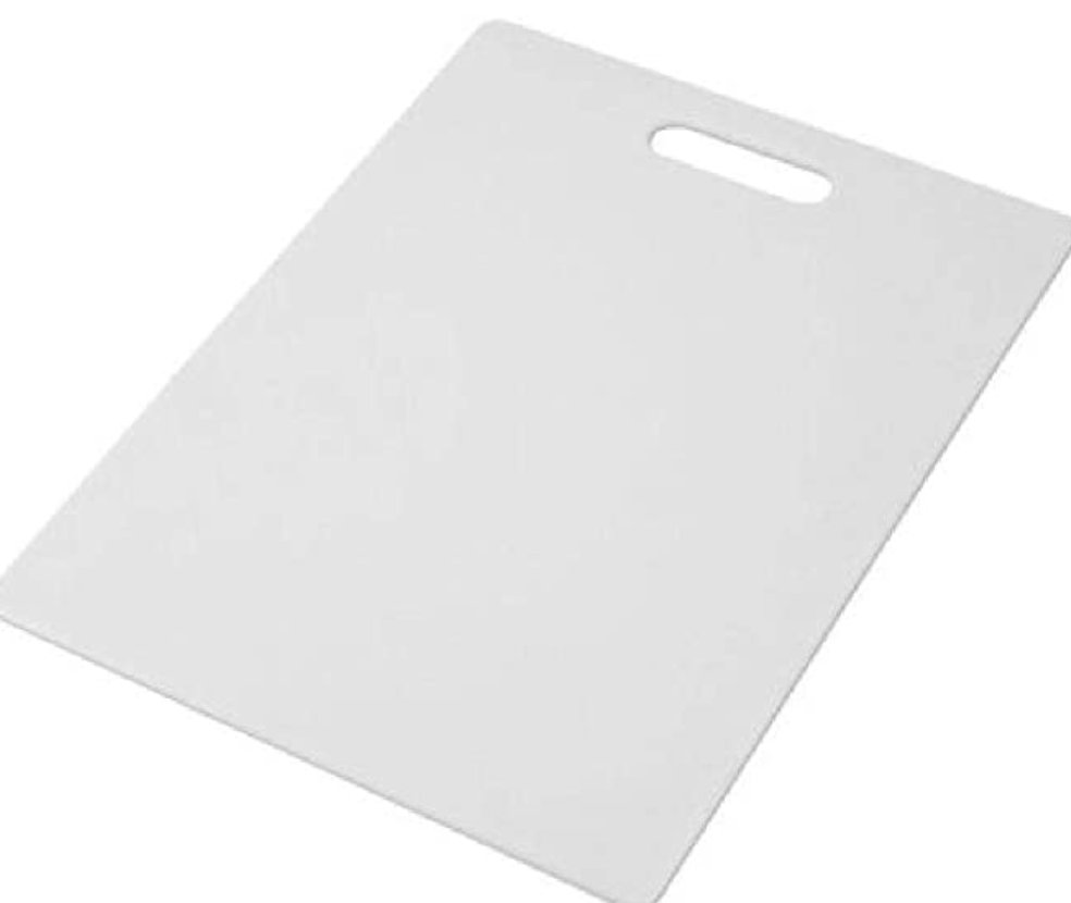 White plastic cutting board with handle on white background