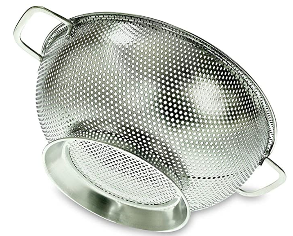 Stainless steel colander product image on white background