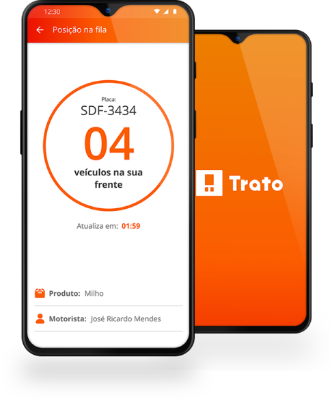 smartphone com aplicativo Trato