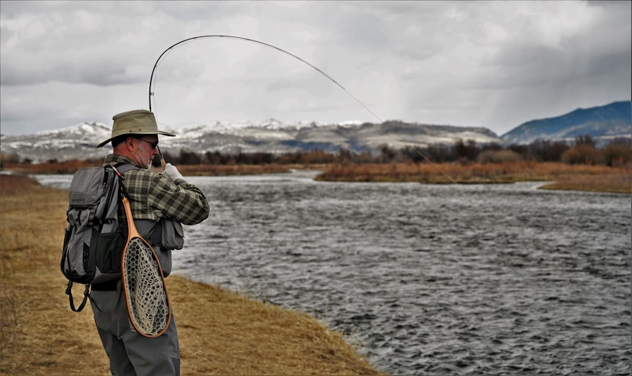 Bent fly rod in Montana