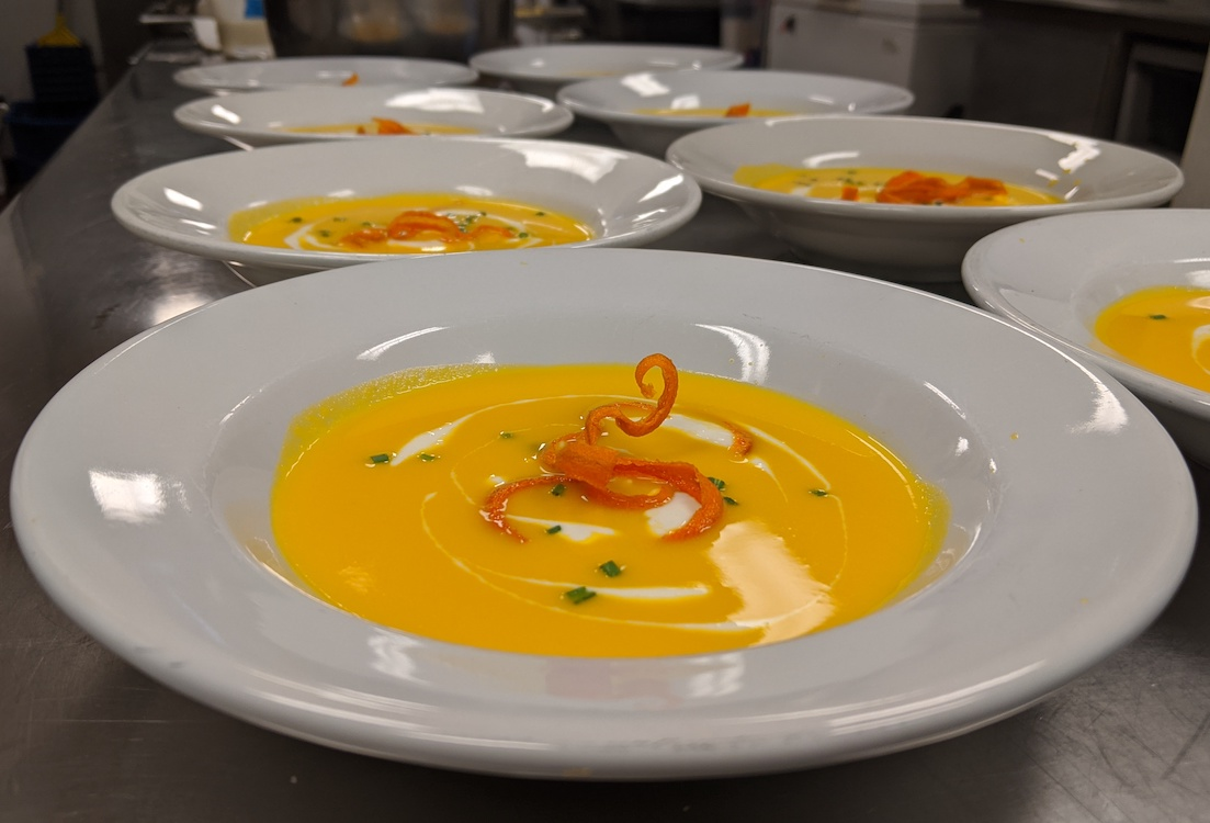 Carrot ginger soup made by Matt Pease