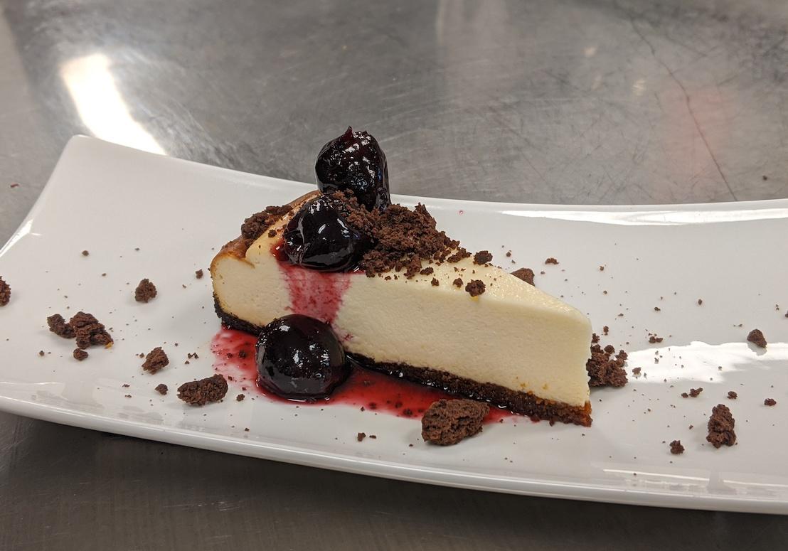 Flathead cherry cheesecake dessert.
