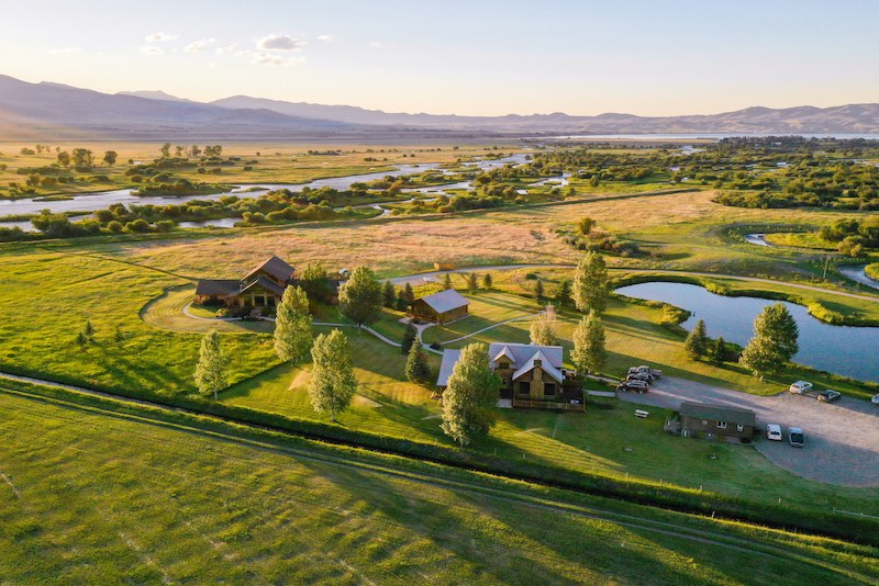 Drone shot of Madison Valley Ranch in Ennis, Montana
